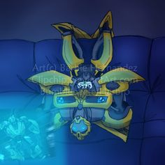 Bumblebee just hanging out TFP Playing one of the Cybertron games to boot! Transformers Prime Bumblebee, Arcee Transformers, Rescue Bots, Cyberpunk Art, Comic Book Characters, Funny Images, Film, Fan Art, Cartoon