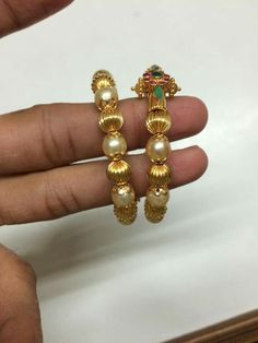 Gold Bangles Design, Gold Jewellery Design, Beaded Jewelry Designs, Necklace Designs, Baby Bracelet, Bangle Bracelet, Gold Wedding Jewelry, Gold Jewelry, Cz Jewellery