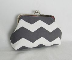 Gray Chevron Metal Frame Clutch... i'm in love with chevron print