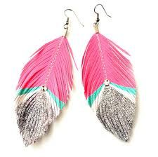 #pink#turquoise feather earrings <3