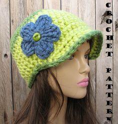 CROCHET PATTERN!!! Crochet Hat - Newsboy Hat, Crochet