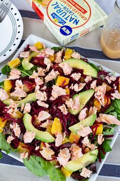 Can't beet (😉) a light and healthy salad topped with our Natural Catch Grilled Salmon! Recipe via Mindy's Cooking Obsession. Salmon Recipes, Seafood Recipes, Diet Recipes, Vegetarian Recipes, Cooking Recipes, Recipies, Healthy Snacks, Healthy Eating, Vinaigrette