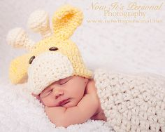 Crochet PATTERN Hat Baby Giraffe Beanie PDF 175 - Newborn to Adult - Permission To Sell Finished Items - Photography Prop. $3.99, via Etsy.