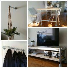 Interieur van steigerbuis en buiskoppelingen. Tafel, tv meubel, kapstok, decoratie.
