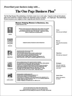 15 Best One Page Business Plan Images Entrepreneurship One Page