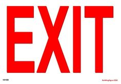 EXIT - Vinyl, Polyethylene or Magnet sign. Available in 3 sizes and 3 Materials Vinyl, Polyethylene or Magnet. Aluminum Signs, Aluminum Metal, Metal Signs, Emergency Exit Signs, Entrance Sign, Red Home Decor, Sign Materials, Parking Signs, Sign Display