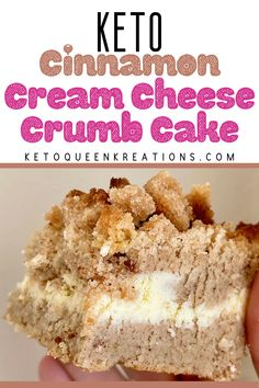 Keto Cinnamon Cream Cheese Crumb Cake Re. - Keto Cinnamon Cream Cheese Crumb Cake Recipe – by Keto Queen Kreations. With a delicious keto cre - Low Carb Sweets, Low Carb Desserts, Easy Desserts, Low Carb Meal, Cake Recipes, Dessert Recipes, Thm Recipes, Keto Cream, Keto Cake