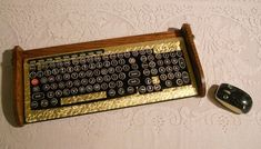 Keyboard Mouse Combo - Antique looking Victorian Styling - Steampunk-Typewriter-Gold Leaf Style
