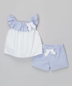 Look at this #zulilyfind! White & Blue Seersucker Bow Top & Shorts - Infant & Toddler #zulilyfinds