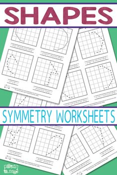 Printable Shapes Symmetry Worksheets for Kids - learn 2D shapes and symmetry drawing