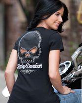 Harley-Davidson® Womens Willie G Skull and Chain Passion Black Short Sleeve T-Shirt