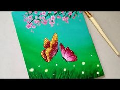 Easy Butterfly Scenery Drawing & Painting tutorial for beginners Easy Butterfly Drawing, Ganesha Painting, Acrylic Painting For Beginners, Heart Painting, Acrylic Colors, Easy Drawings, Light In The Dark, Scenery, Canvas Art