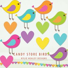 Birds Clip Art - 6 Candy Store Collection Birds and Hearts Clip Art ClipArt Scrapbooking Instant Download & Printable G7058