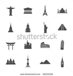 Travel landmarks icon set - stock vector
