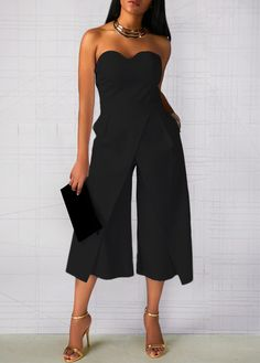 Women Off Shoulder Jumpsuit Backless Summer Strapless Playsuit Ladies Clubwear Bodycon Evening Party Outifits Color Black Size S Jumpsuit Dressy, Fitted Jumpsuit, Black Jumpsuit, Denim Jumpsuit, Overalls, Trousers, Strapless Dress Formal, Rompers Women, Shopping