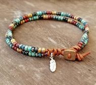 """Beaded Leather Anklet Handmade Bohemian Style Handmade Leather Wrap Anklet 9"""""""