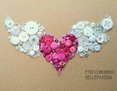 8x10 Winged Heart Flying Heart Buttons & Swarovski by BellePapiers, $124.00