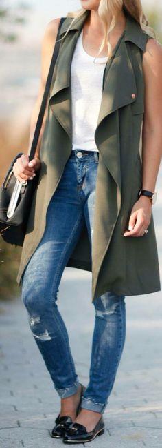 Saco largo con pantalón de mezclilla