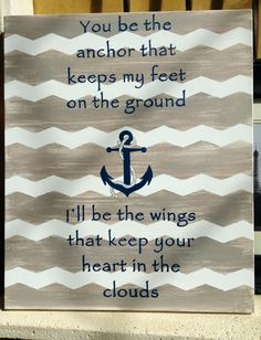 """Large hand painted canvas  Distressed grey chevron Anchor  18"""" x 24"""" vertical  HWS Originals on Facebook =)"""