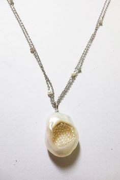 Little h necklace---White Soufflé pendant necklace in 14k gold with freshwater seed pearls and diamond beads, $1,000