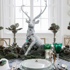 carolyne roehm deer decor for your Christmas or Holiday Table for 2016. This can ease you into a January Dinner Party looks like a wonderful wintery scene outside the windows.