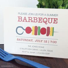 4th of July is right around the corner! We're already planning our party, are you?   BBQ invitation