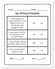 FREE: Writing Checklist via The Teacher Wife. This printable will help your students be more accountable for their own writing. It has a checklist for: Capitals Punctuation Finger Spaces Does it make sense? Writing Classes, Writing Workshop, Writing Resources, Writing Activities, Teaching Resources, Writing Ideas, Writing Notebook, Teaching Ideas, Kindergarten Writing