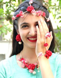 Boho, Haldi Jewellery, Made in India, Mehendi Jewellery, Natural, Paper flowers necklace, Paper Jewelry, Textile Jewelry