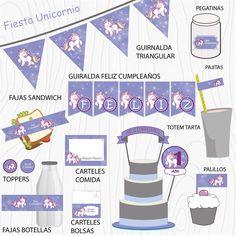 Imprimible Unicornio lila Map, Chopsticks, Garlands, Unicorn, Happy Birthday, Printables, Stickers, Party, Location Map