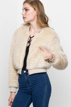 Cream Faux-Fur Jacket TALLY WEiJL