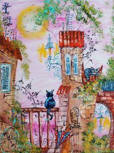 ,, The fabulous evening'' Painting by Tatyana Murova City Drawing, Painting & Drawing, Domino Art, Coloring Book Art, Naive Art, Moon Art, Whimsical Art, Illustrations, Artist Art