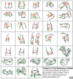 reference sheet for drawing folds in fabric