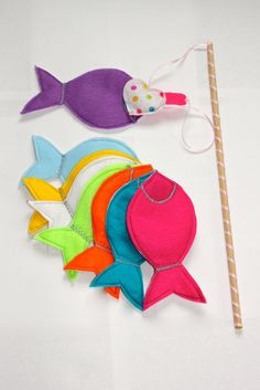 Magnetic Felt Fishing Game- Set of Eight Fish and Fishing Pole on Etsy, $22.00