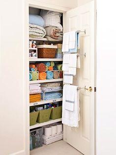 WILL do this with small linen closet! WILL do this with small linen closet! WILL do this with small linen closet! Linen Closet Organization, Organization Hacks, Closet Storage, Organizing Ideas, Organising, Organizing Bathroom Closet, Attic Storage, Garage Storage, Organize A Linen Closet