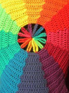 Rainbow Waves Circle Crochet Vest With Flower Center by babukatorium, via Flickr