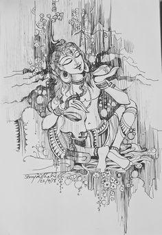 Shiva Art, Hindu Art, Black Pen Drawing, Kalamkari Painting, Japanese Drawings, Lord Shiva Painting, Indian Folk Art, Indian Art Paintings, Indigenous Art
