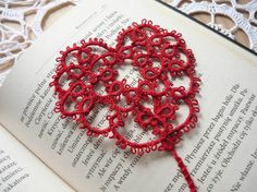 Tatted Bookmark  small red heart valentines day by MariAnnieArt