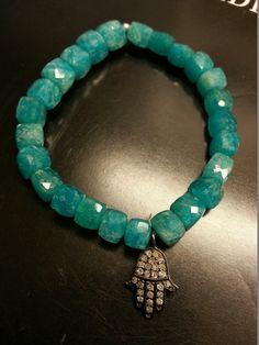 Diamond Hamsa on Square Beaded Bracelet