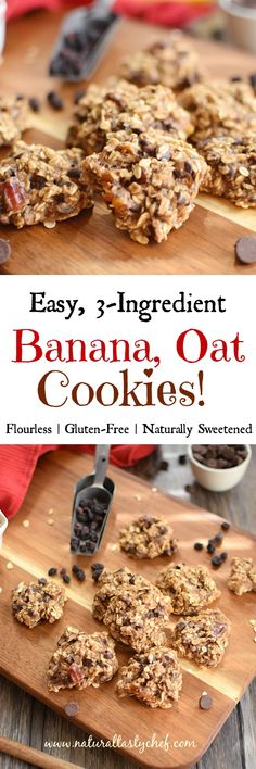 Easy Banana Oat Cookies Back to school Banana Oat Cookies! Easy to make, 3 basic ingredients, healthy, vegan and gluten-free cookies! Gluten Free Oats, Gluten Free Cookies, Healthy Cookies, Gluten Free Baking, Dairy Free, Cookies Vegan, Vegan Treats, Vegan Snacks, Sugar Cookies