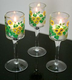 Hand painted candle holders, set of three $15.00 #uniquegifts #paintedglass #candleholders