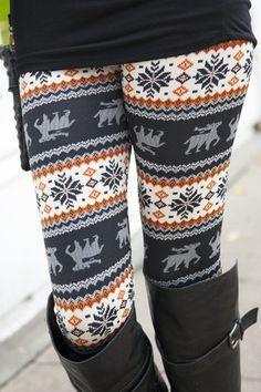 Caribou Flower Leggings - White Plum has SO MANY cute leggings! One of each please!