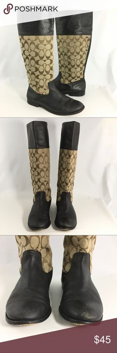 Coach Chrissi Tall Brown Signature C Boots There are scuffs on the back and fronts of the boots.  The heels have wear but lots of wear left.  There is a stain on the fabric portion of the  right boot.  The boots are dark brown. Coach Shoes Winter & Rain Boots