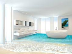 3D banyo zemin kaplaması ile banyonuzda gerçeklik esintisi. Yerlere basarken tedirgin olacağınız 3 boyutlu banyo döşemeleri