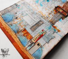Detail of France Papillon art journal in her altered book.