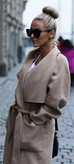 Sendi Skopljak is wearing a long wool camel robe coat from Zara