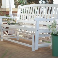 Acacia Wood Glider Bench Outdoor Patio Garden Furniture In White Finish
