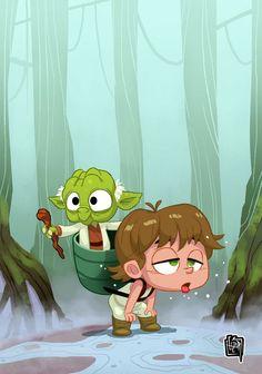 Baby Luke Skywalker & Yoda Created by Cesar Vergara