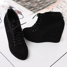 Sexy Wedge Heel Design Black Dulll Polish Lacing Boots For Women