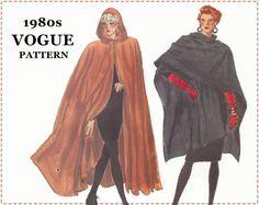 Hooded Cloak Sewing Pattern - Misses Wrap Cape - Vogue 7110 Pattern - Size L XL - Size 16 18 20 22 - Renaissance Elven Medieval Cloak, UNCUT by EightMileVintageSews on Etsy