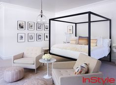 Look Inside Rachel Zoe's Chic Home - Master Bedroom from #InStyle - texture, black and white luxe